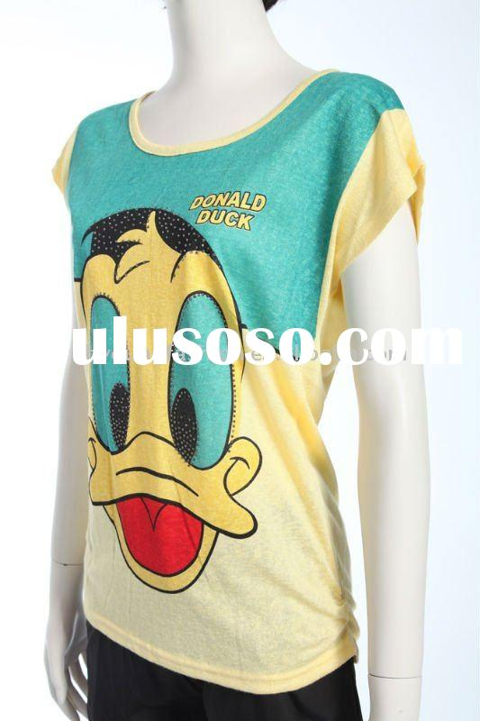 2011 hot selling cotton dyed bulk teen girl's, lady's fashion Donald duck street t-s