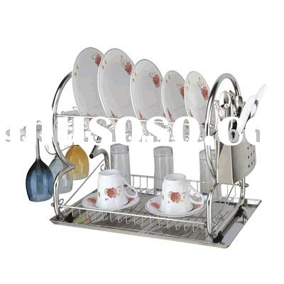 2 Layer stainless steel Wire kitchen dish rack,kitchen plate holder