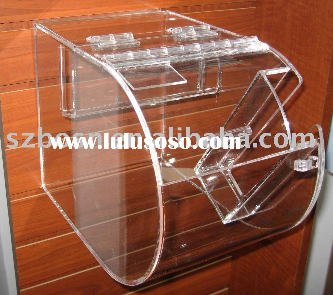 Clear Wall-Mounted Acrylic Candy Box,Plexiglass Coffee Bean Bin,Lucite Candy Dispenser