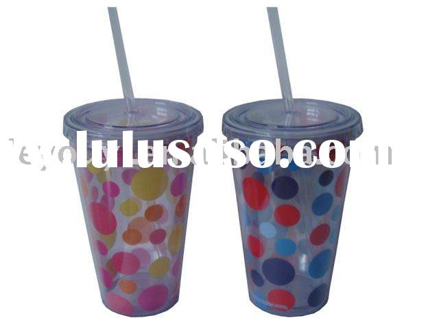Double Wall Acrylic/Plastic Cup with Straw