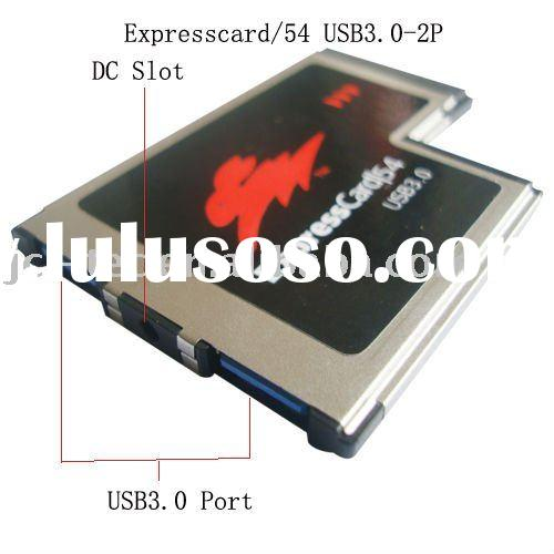 Express Card Expresscard 54mm to 2 Port USB 3.0 Card adaptr NEC Chipset CE&ROHS