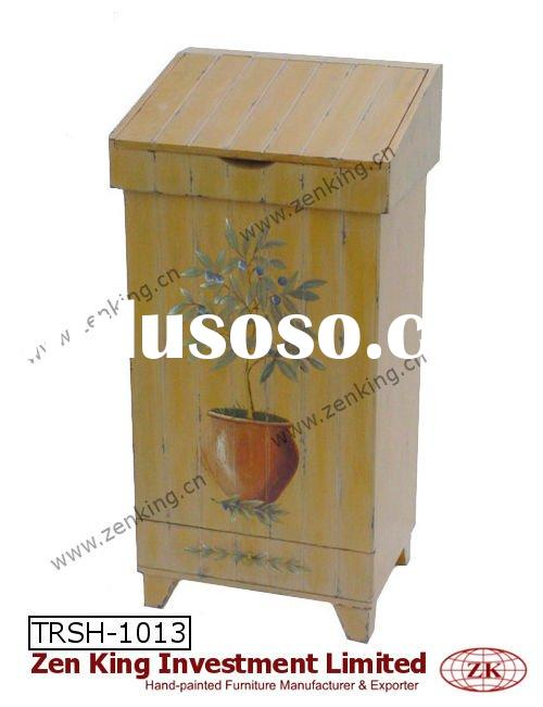 Hand Painted Country Style Indoor Wooden Trash Bin
