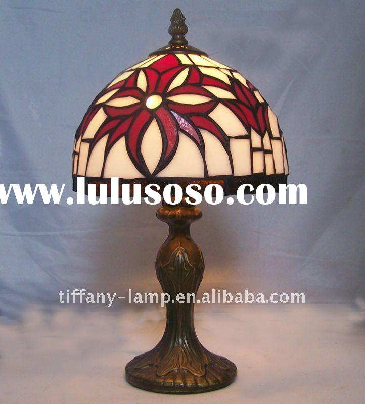 Red flower glass shade bedside lamp