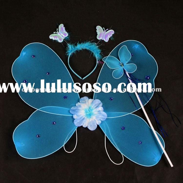 Wholesale Kids Dress Up Blue Fairy Wings & Halo Butterfly Girls Fairy Halloween Costume Wings ,