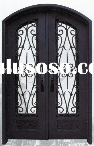 Arched Wrought Iron Entry Doors And Sidelights For Sale