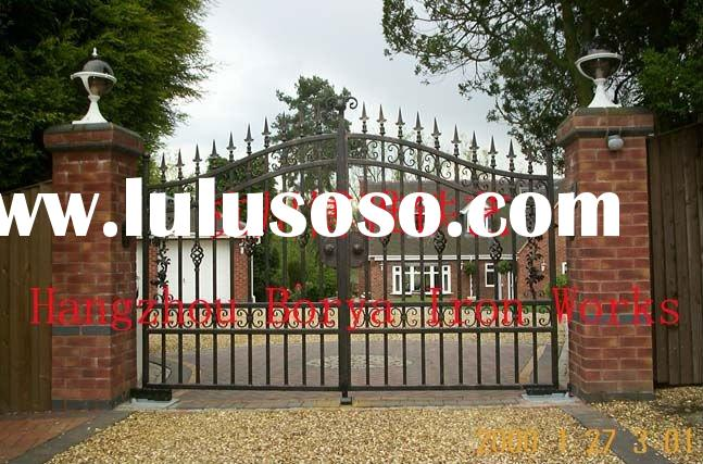 modern forged iron metal fence gate design