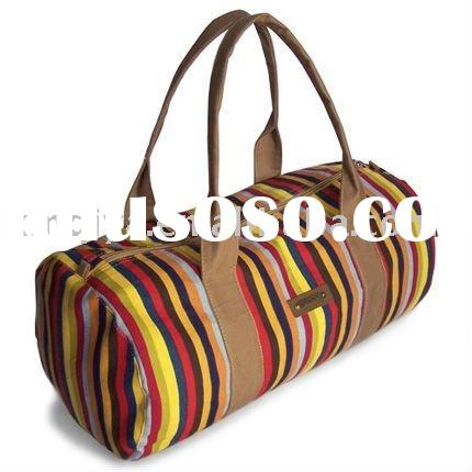 Fashion cloth material tote bag stripe travel bags