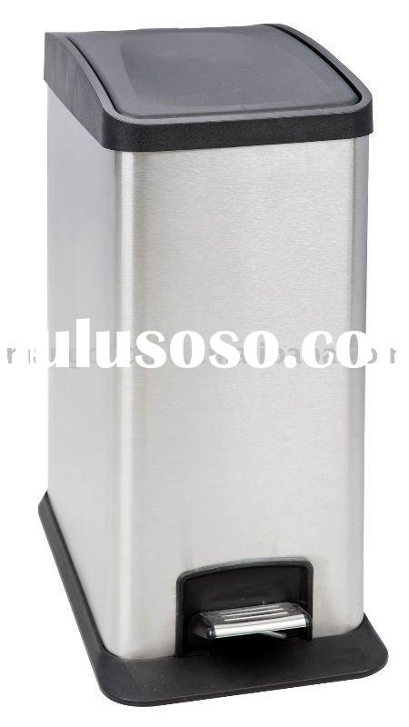 Rectangular Stainless Steel Waste Bin with Plastic Lid