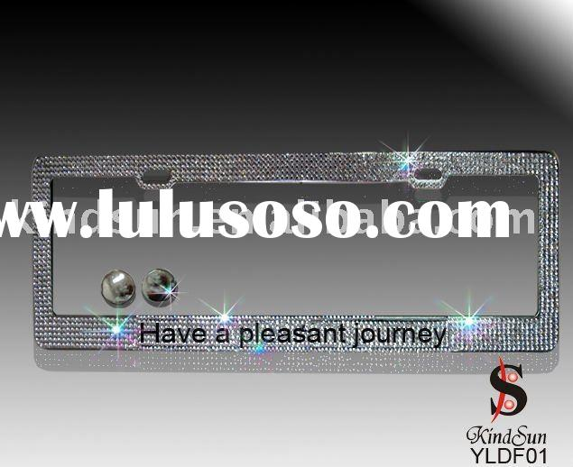 Bling vehicle license plate frame with crystal stone