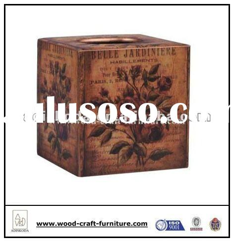 Square MDF Wood Tissue Box With Antique Rose Pattern
