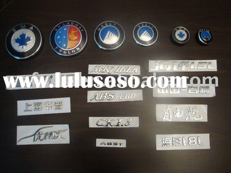 chrome letter, car badge, ABS sign, auto emblem, plastic chrome emblem, license plate with chrome/ e