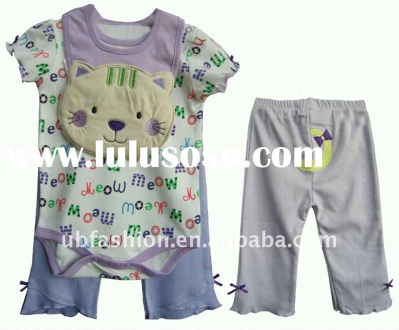 100% cotton full print baby clothes with bib
