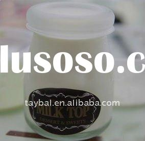 100ml clear glass milk pudding bottle/jar with plastic cap
