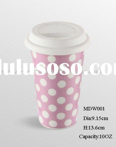 10oz eco-friendly reusable double wall coffee mug w/ silicone lid colorful pattern