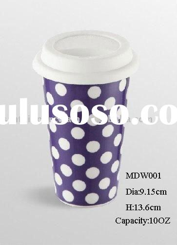 10oz eco-friendly reusable double wall thermal travel Cup w/ silicone lid colorful pattern