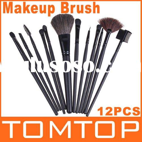 12 PCS Makeup Brush Make Up Brush Make-up Brushes Brush Set with Black Leather Case