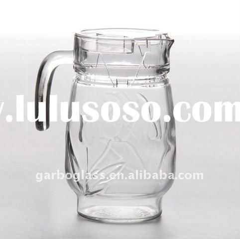 1.4L Engraved Glass Pitcher / Glass Jug with plastic lid