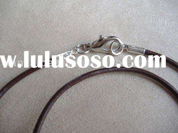 1.5mm 16 Inch Dark Brown Genuine Leather Cord Necklace Jewelry Findings Jewelry Accessories Nickel F