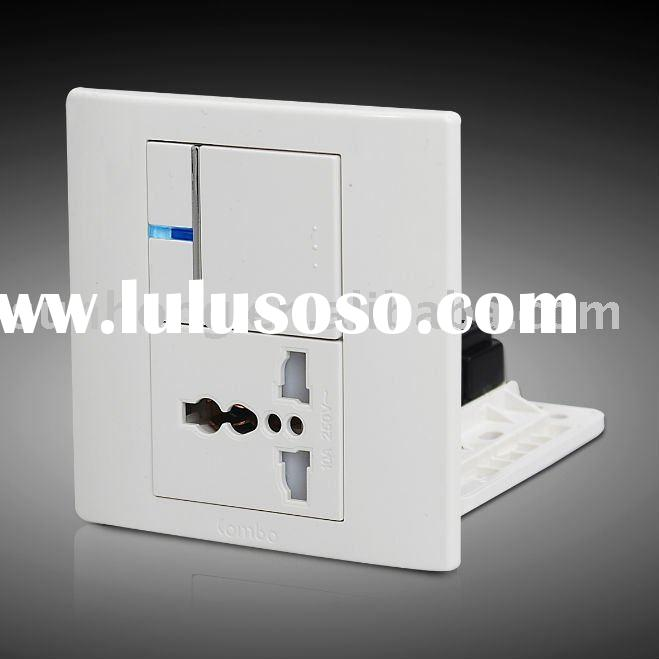 1 Gang 1 Socket LED Indicator Touch Reset Wall Switch and Socket