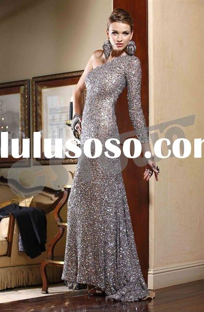 2011 Brown Satin Long Sleeve Floor Length Evening Dress with Beadings