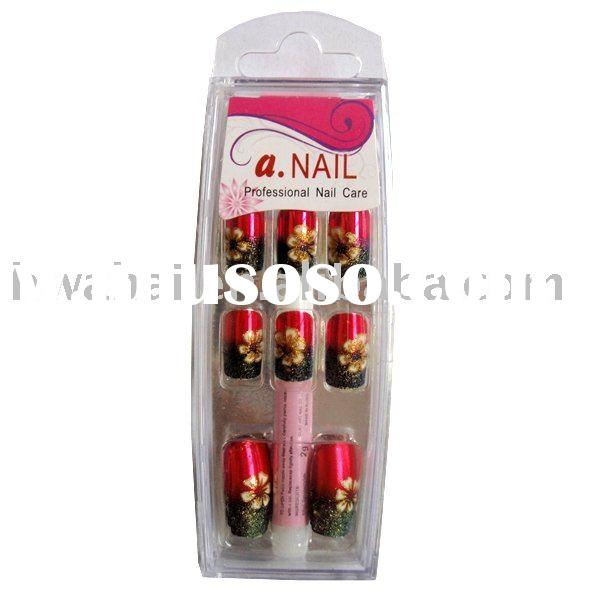 2011 NEW Metallic Red with glitter Artificial Finger nails