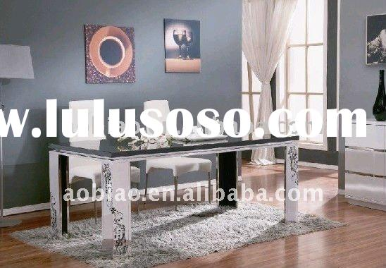 2011 New Style Carved Stainless Steel Marble Dining Table