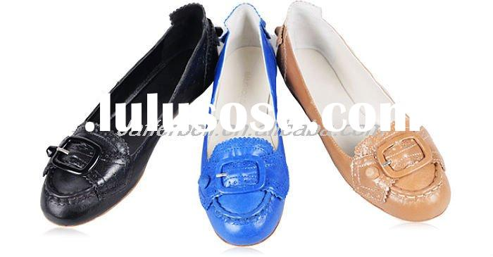 2011 ladies' leather flat ballet shoes
