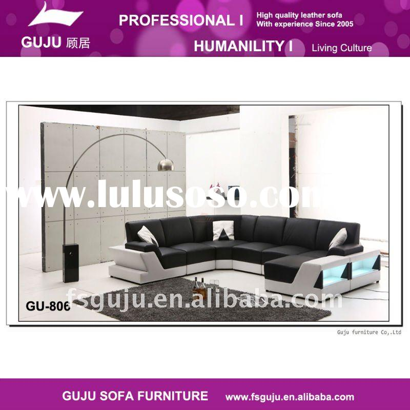 2011 newly black and white leather sofa GU-806
