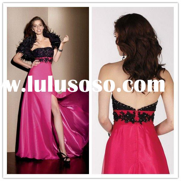 2012 New Cheap Strapless Evening Gown Sheath Tulle Applique Beaded Floor Length Vintage Prom Dresses