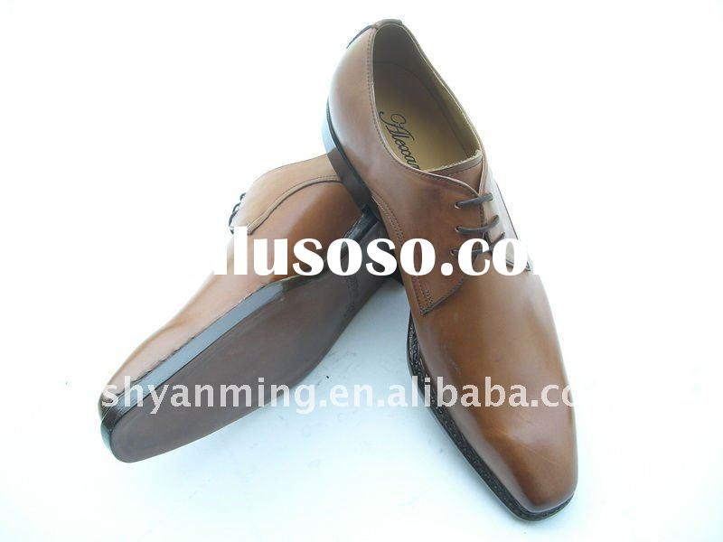 2012 fashion Goodyear welt men's genuine leather brown dress shoes