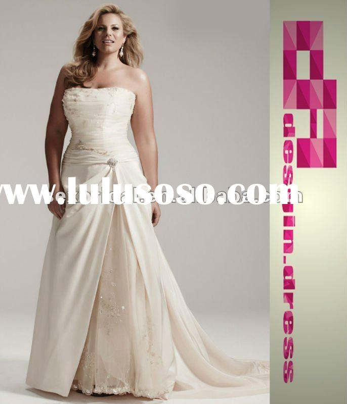 2012 plus size swarovski beaded crystals taffeta wedding dress DC-PS003