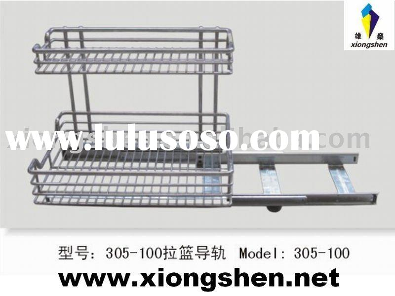 305-100# kitchen storage pull-out basket ball bearing guide rail/slide rail/ runner