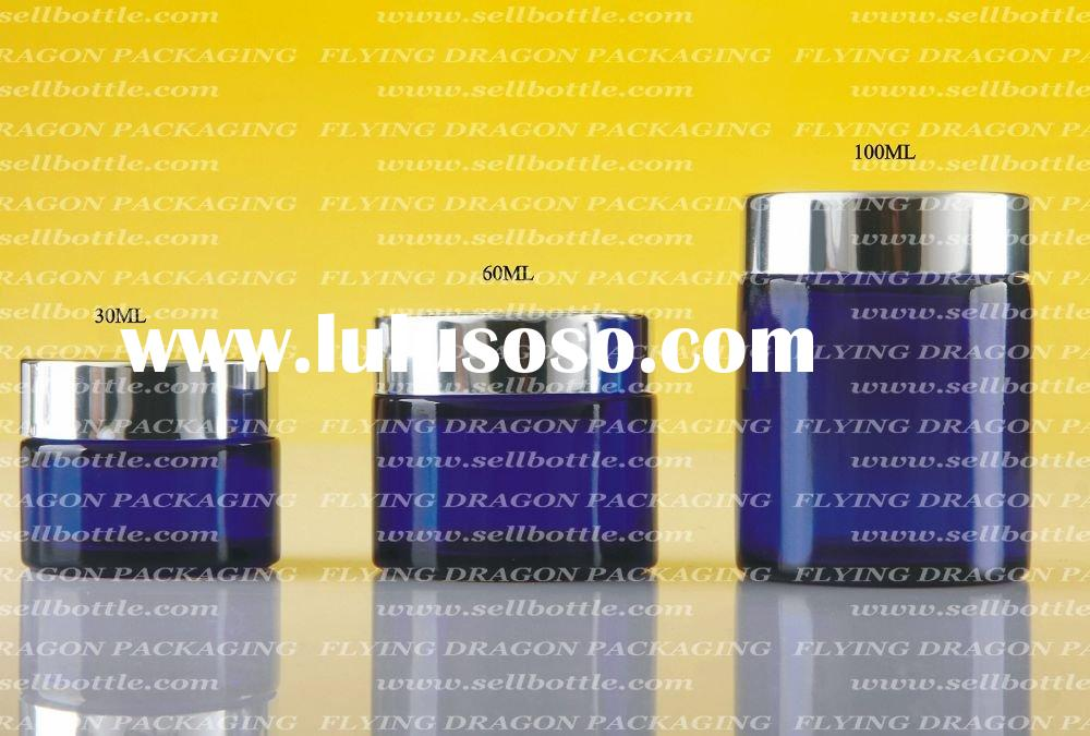 30ml, 60ml, 100ml, blue Glass jar with aluminum lid, glass cosmetic jar, cosmetic /glass container