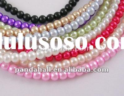"32"" Pearled Glass Loose Beads Strand, Round, Multicolor, bead: 4mm(HYC001)"