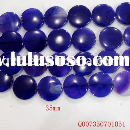 35mm round disk purple agate wholesale gemstone loose beads