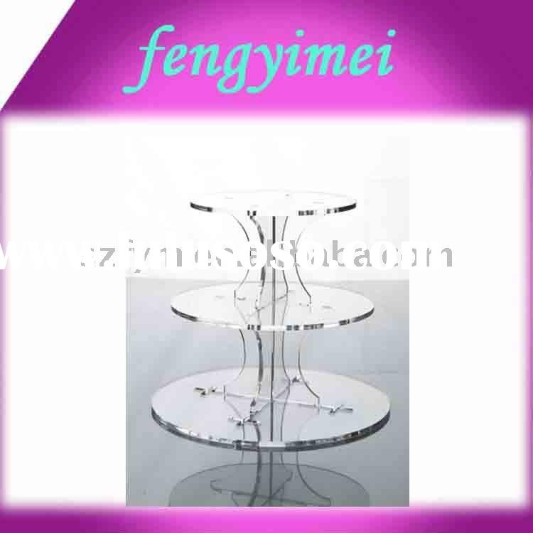 3-Tier Round Acrylic Cupcake stand.Perspex Cake Holder,Lucite Bakery Separator