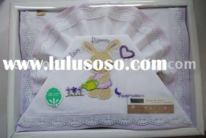 3pcs Embroidery baby bed sheet set-rabbit love flower