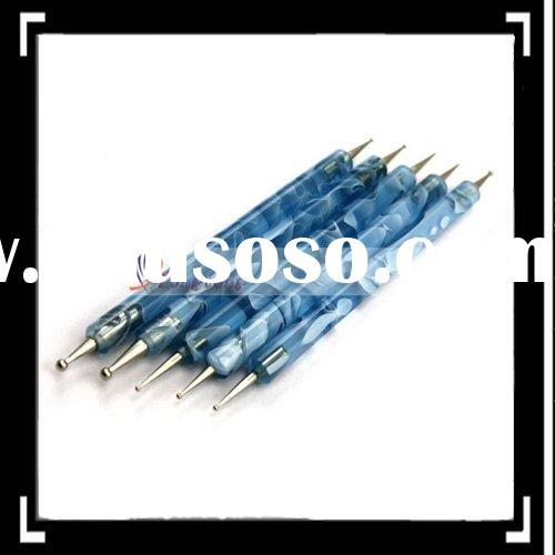 5pcs 2 Way Nail Art Pen Dotting Marbleizing