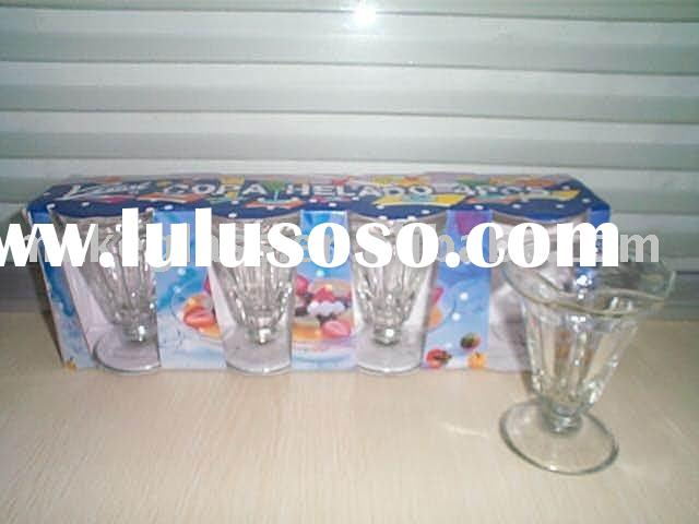 5pcs glass ice cream cup with display box