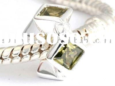 925 Sterling Silver Jewelry Beads with Light Olivine CZ stones XS51