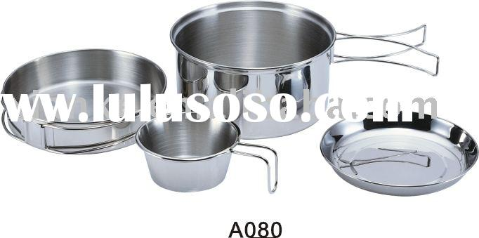 A080 Portable Carrying Stainless Steel 1-Person Cooking Utensils Set