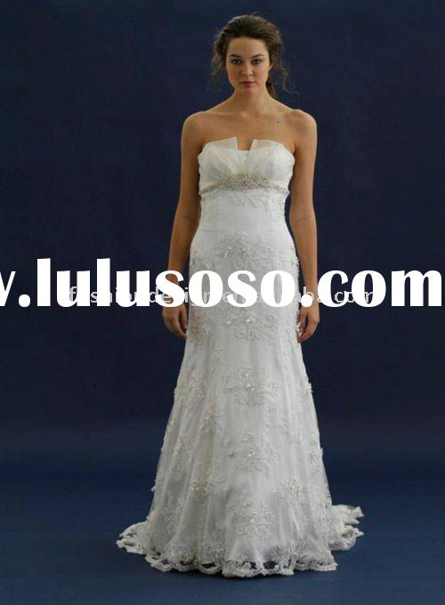 ALW-23 2012 Designer lace with crystal empire strapless column floor length wedding dresses