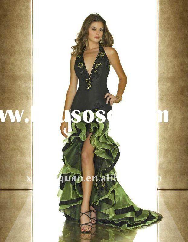 AP164 Hot sale custom made newest design halter embroidered ruffled short front long back evening dr