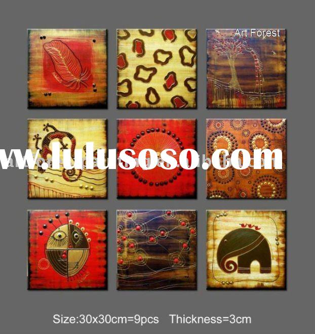 African Abstract Oil Painting on canvas 9 pieces as a set