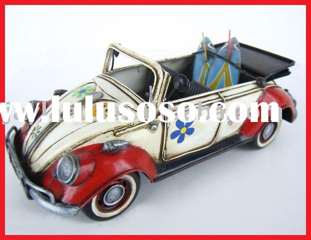 Antique Metal Model Car(1952 WHITE VW CONVERTIBLE BEETLE W/FLOWERS)