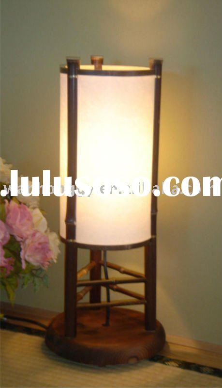 Antique handmade bamboo and wooden table lamp