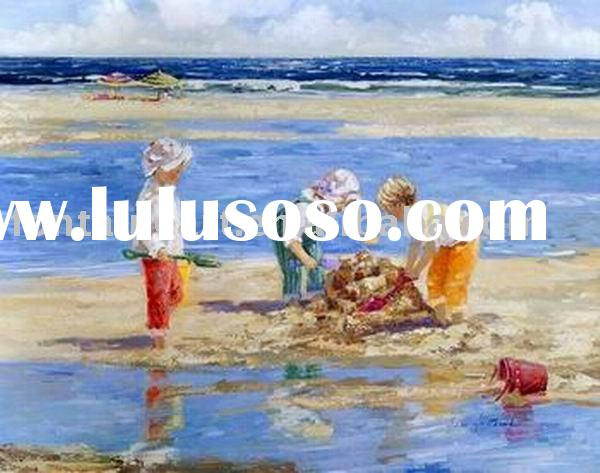 Beach Kids canvas painting,playing on the beach