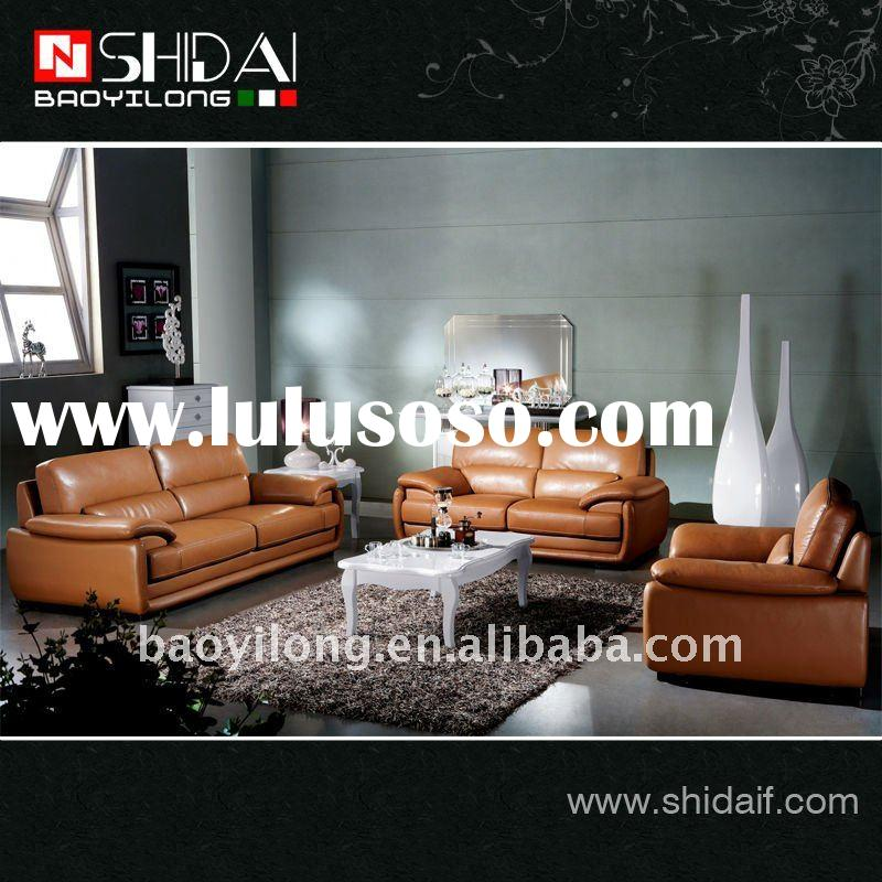 Best selling orange popular french style real leather sofa set 972