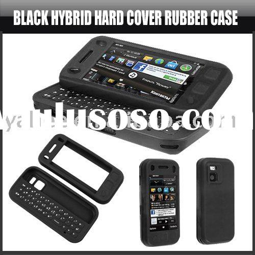 Black Hybrid Hard Cover Rubber Case for Nokia N97 Mini,YHA-MO033