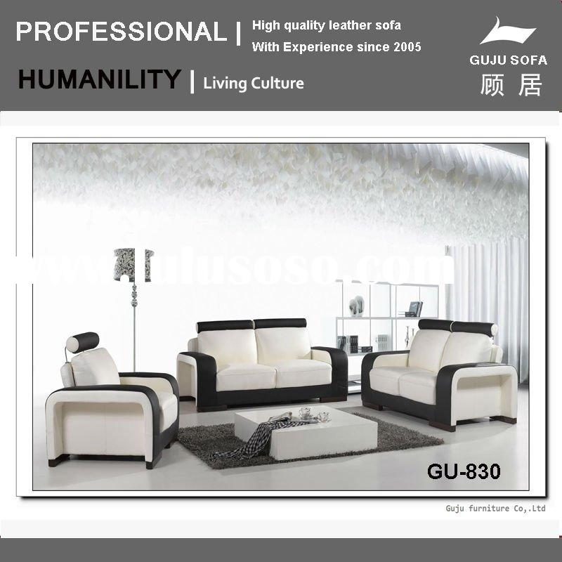 Black and White Leather Ultra Modern 3Pc Living Room Set (GU830)